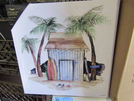 7 LIGHTED TIKI HUT CANVASES