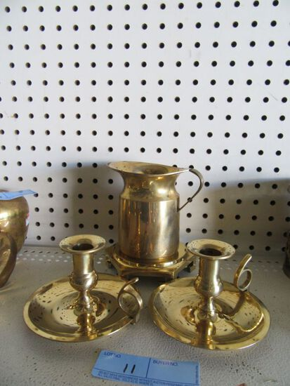 BRASS CANDLESTICK HOLDERS, DISPLAY STAND, AND PITCHER