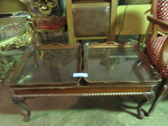 ANTIQUE WOODEN COFFEE TABLE WITH 2 REMOVABLE GLASS BOTTOM TRAYS