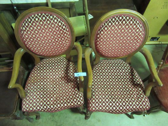 2 UPHOLSTERED WOODEN CHAIRS
