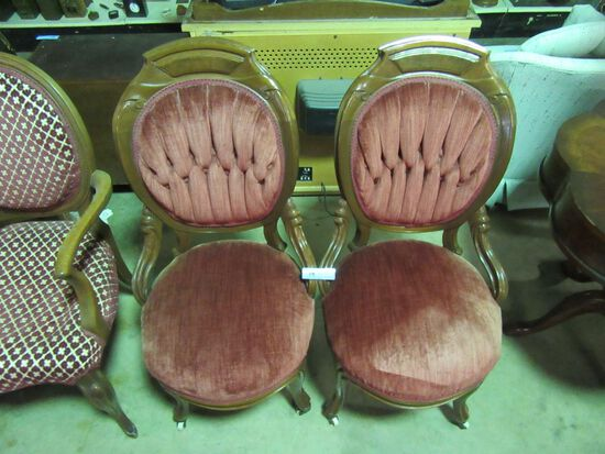 2 UPHOLSTERED VICTORIAN STYLE CHAIRS