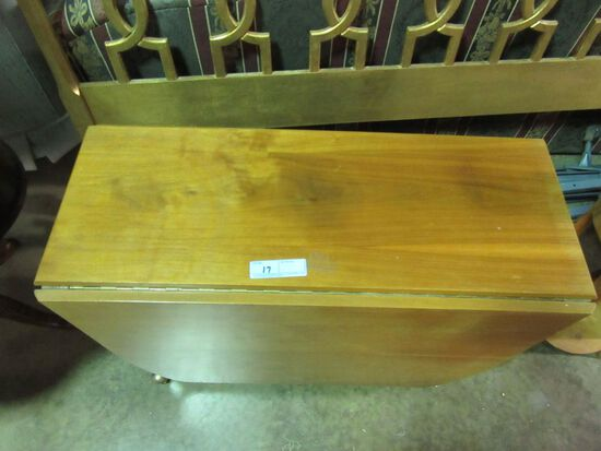 DROP LEAF CHERRY TABLE WITH 4 PADDED CHAIRS STORED UNDER