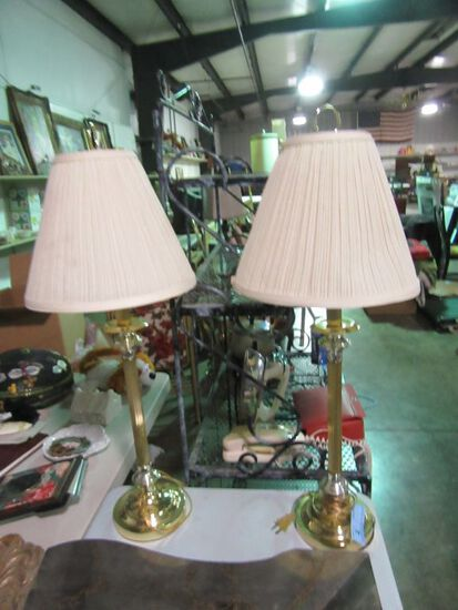 PAIR OF GOLD COLORED TABLE LAMPS
