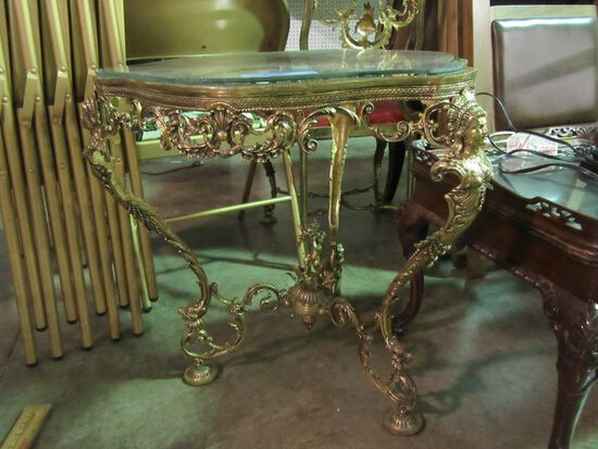 ORNATE METAL TABLE WITH GLASS TOP