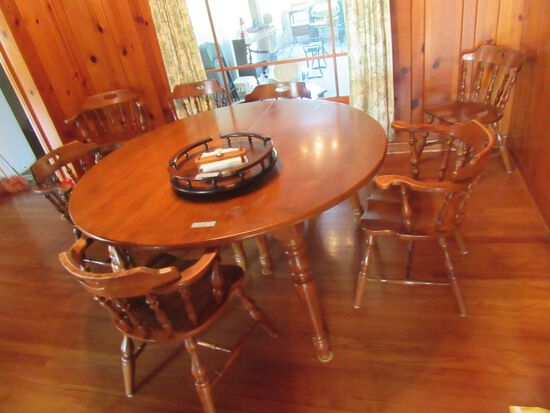ROCKPOINTE MAPLE TABLE WITH 3 LEAVES (WATER DAMAGE TO THE LEAVES AT THE SEA