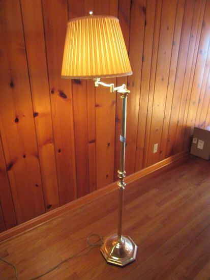 BRASS SWIVEL ARM FLOOR LAMP