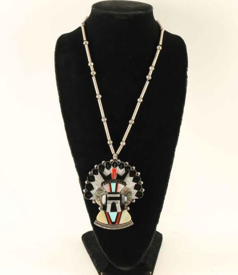 Silver Beaded Necklace with Inlaid Kachina