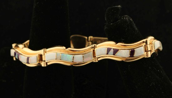 Calvin Begay 14K Gold Opal, Mother of Pearl &