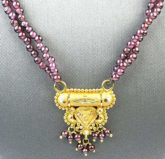 Fine Quality 22K Gold Garnet Necklace