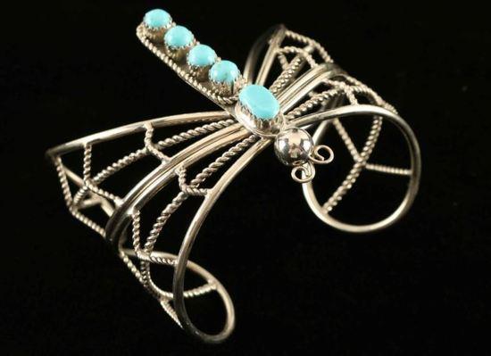 Vintage Turquoise & Silver Dragonfly Bracelet