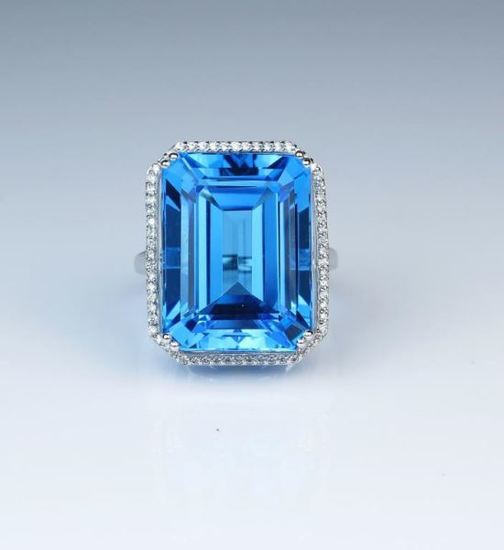 Magnificent Emerald Cut Swiss Blue Topaz & Diamond