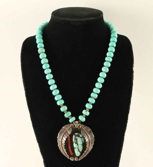 Old Pawn Turquoise & Coral Pendant