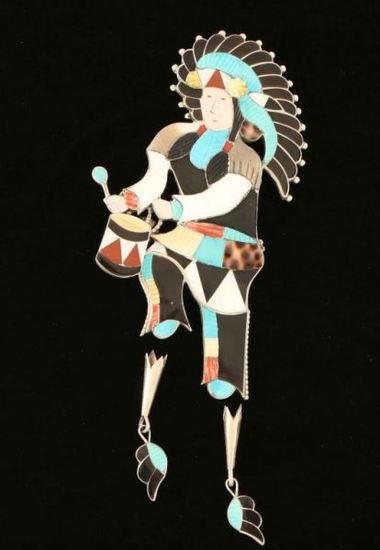 Zuni Inlaid Gon Dancer Bolo Tie