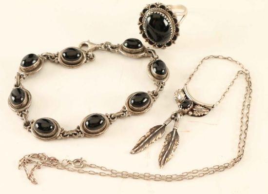 Sterling & Jet Jewelry Set