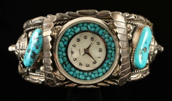 Old Pawn Silver & Turquoise Watch Cuff
