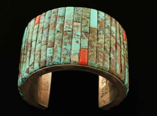 Inlaid Turquoise & Coral Cuff