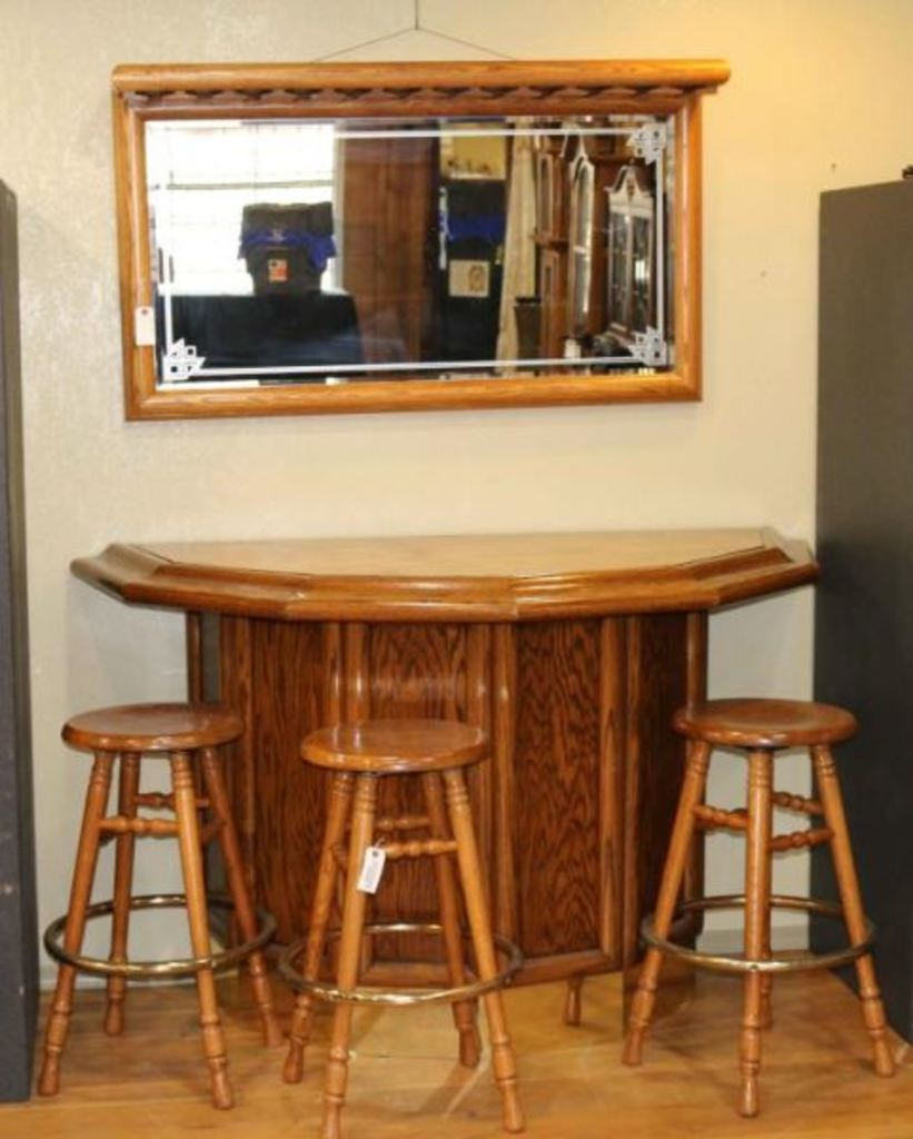 Oak Gamblers Bar with Stools