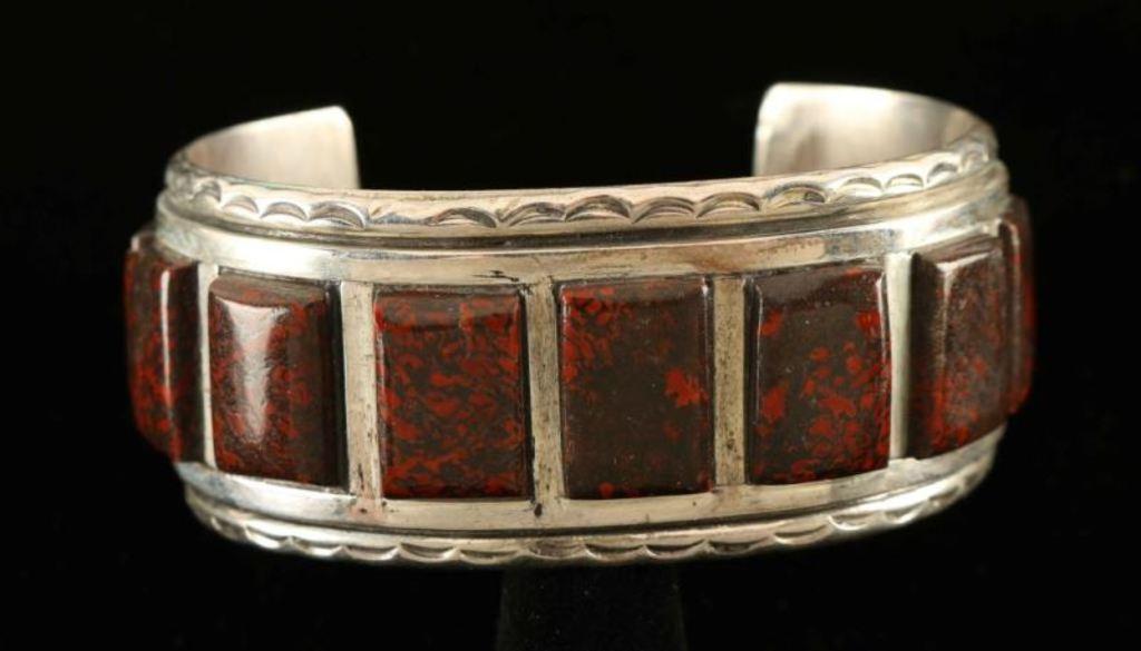 Bloodstone Jasper & Sterling Silver Cuff