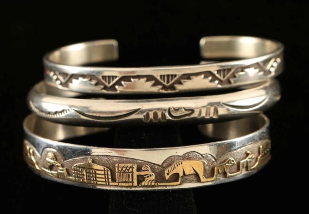 Lot of 3 Vintage Navajo Stamped Bracelets