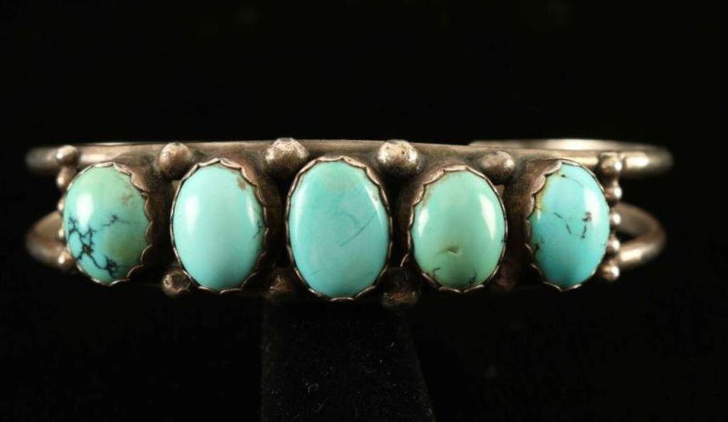 Antique Turquoise & Sterling Silver Bracelet