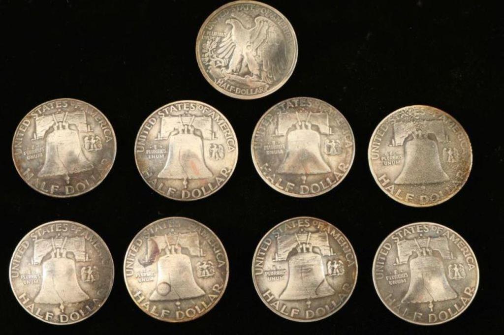 Walking Liberty & Ben Franklin Half Dollar Buttons