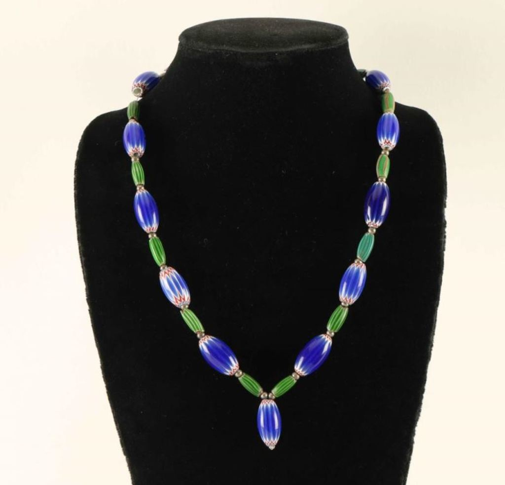 Native American Chevron Trade Bead Necklace