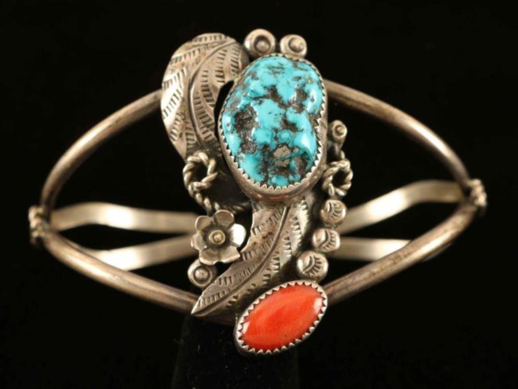 Turquoise & Coral Bracelet