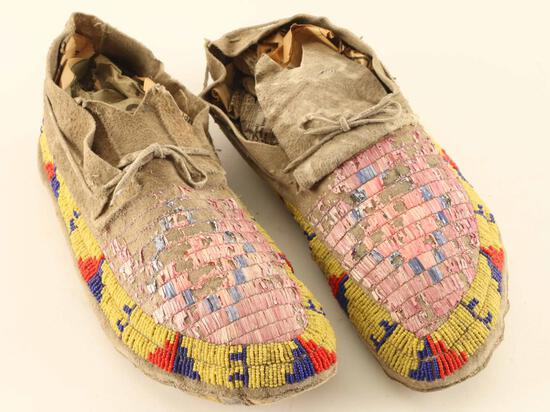 Sioux Quilled & Beaded Moccasins