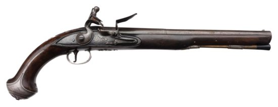 Silver mounted Horseman's size flintlock pistol by Thorpe circa about 1760-1780. Measures