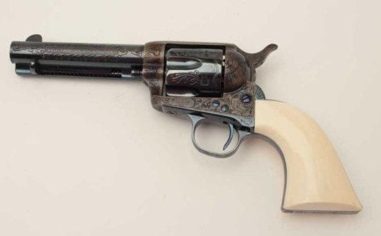 "Western style engraved Colt SAA revolver, .44-40 cal., 4-3/4"" barrel, blue"
