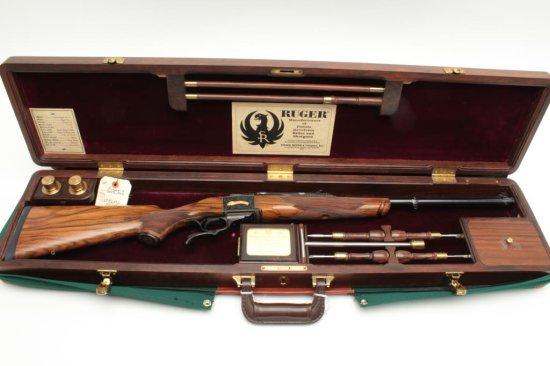 "Ruger No. 1 rifle, special exhibition grade, .45-100 caliber, 2.6"" case,"