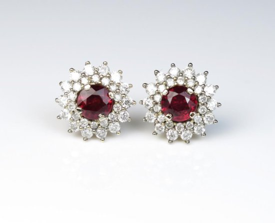 Incredible earrings featuring two matching Round Natural NO TREATMENT Burmese