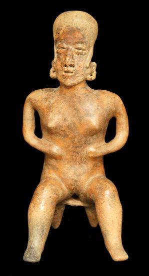 "Large and impressive 20 1/4"" tall x 9 3/4"" wide San Sebastian red style Nayarit seated female."