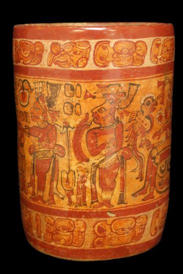 """8 1/2"""" x 6"""" Polychrome Mayan Cylinder with extensive artwork including a seated ruler."""
