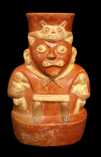 """7 1/2"""" x 4 5/8"""" Moche (Period 3 or 4) Figural Bottle featuring the God Ai-Apec with nice detail."""