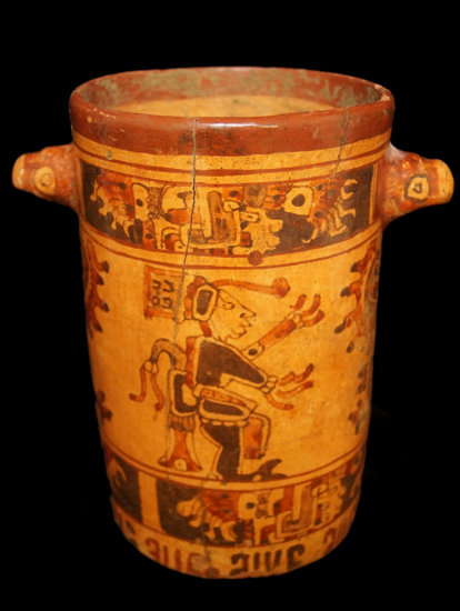 """9 3/8"""" x 6 3/8""""  Polychrome Mayan Cylinder with protruding Harpy Eagle heads."""