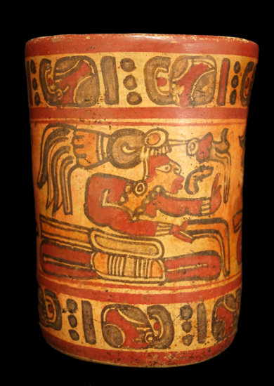 """6 3/4"""" x 5 1/8"""" Polychrome Mayan Cylinder which includes Mayan number glyphs & 3 Mayan Lords."""