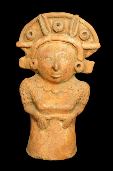 """7 1/4"""" x 4 1/4"""" Female Whistle Figure - West Mexico.Decorated with ornate head gear & necklace."""
