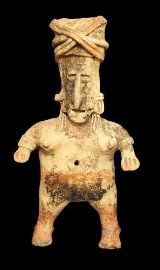 "11"" x 5 1/2"" West Mexico Jalisco Female Figure with ornate head dress."