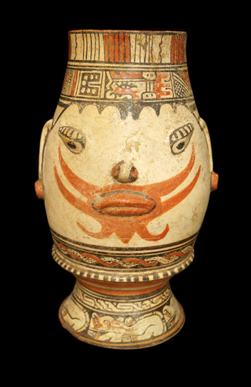 """13 1/4"""" x  7 1/4"""" Pataky Polycrome Footed Urn from the Nicoya, Guanacaste area of Costa Rica."""
