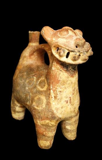 "8"" x 3 1/2"" Early Vicus Jaguar Effigy Whistle Pot from the Ecuador/Peru area. Rare ceramic type."