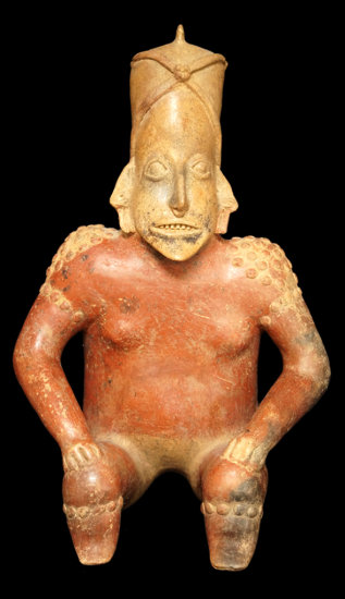 """Impressively large 19 3/4"""" Tall x 12"""" Wide San Sebastian Red Style Seated Jalisco figure."""
