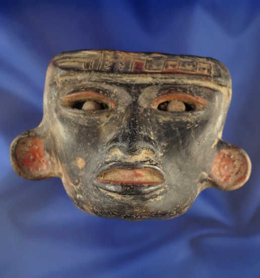 "3"" x 4 1/4"" Remojadas Ceramic Mask from Vera Cruz area, Mexico. Red and black paint."