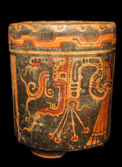 """5 1/2"""" x 4 5/8"""" Solid Tri-leg Mayan Polychrome Cylinder with religious God figure and rising sun."""