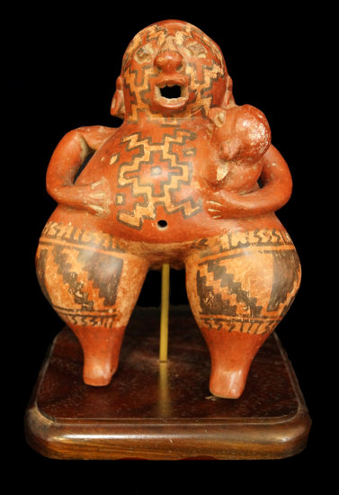 """8 3/4"""" x 6"""" Chupicuaro figure of a mother holding a child with ornate geometric artwork. Mexico."""