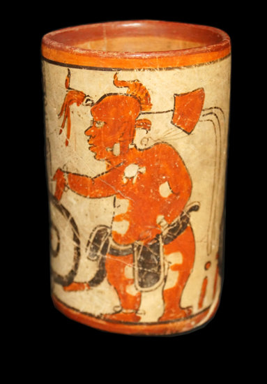 """5 1/2"""" x 3 3/8"""" Polychrome Mayan Cylinder with two human figures and glyphs, Dwarf figure."""
