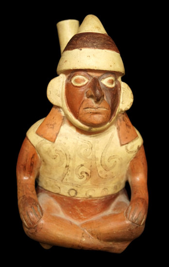 """9"""" x 5"""" Moche Stirrup Bottle of a seated dignitary that is highly detailed, well crafted - Peru."""