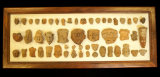 Framed Set of 53 Pre-Columbian Pottery Heads Recovered in Mexico. Largest is 4