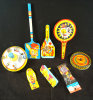 Group of 8 Pieces of vintage Tin Litho Toys & Noise Makers.