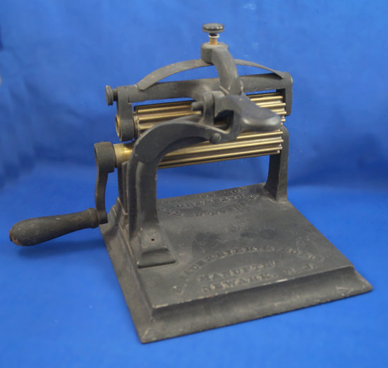 "Machine fluter, Sauerbier & Sons Mfg., Newark, NJ, Mrs. Suban, R. Knox, 2 rolls 6"" long"